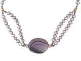 Agate and lilac freshwater pearls necklace