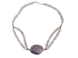 Beautiful agate and freshwater pearl necklace in lilac tones