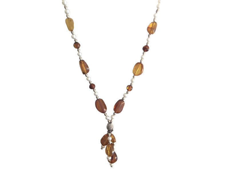Amber and freshwater pearls necklace with pendant