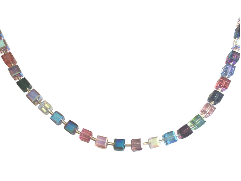 Colorful Swarovski cubes and silver necklace