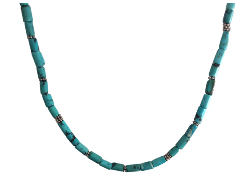 Turquoise tubes and silver bali beads necklace