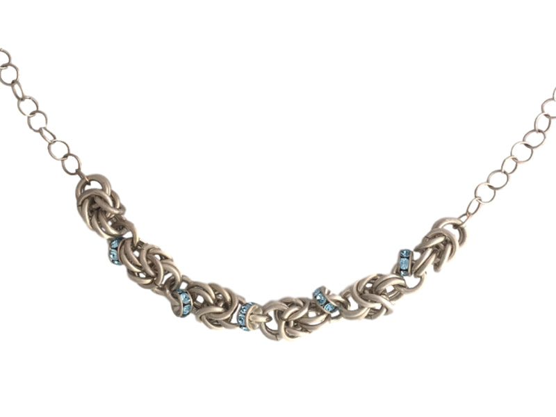 Chain maiile silver necklace blue Swarovski