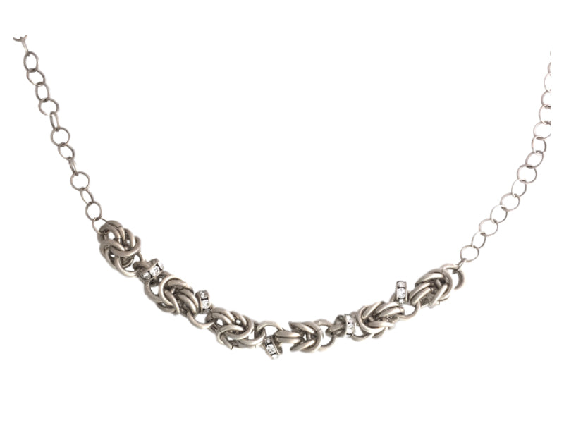 Chain maiile silver necklace clear Swarovski
