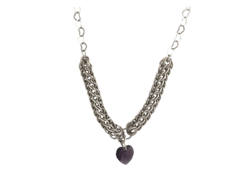 chain maille silver necklace with pink Swarovski heart