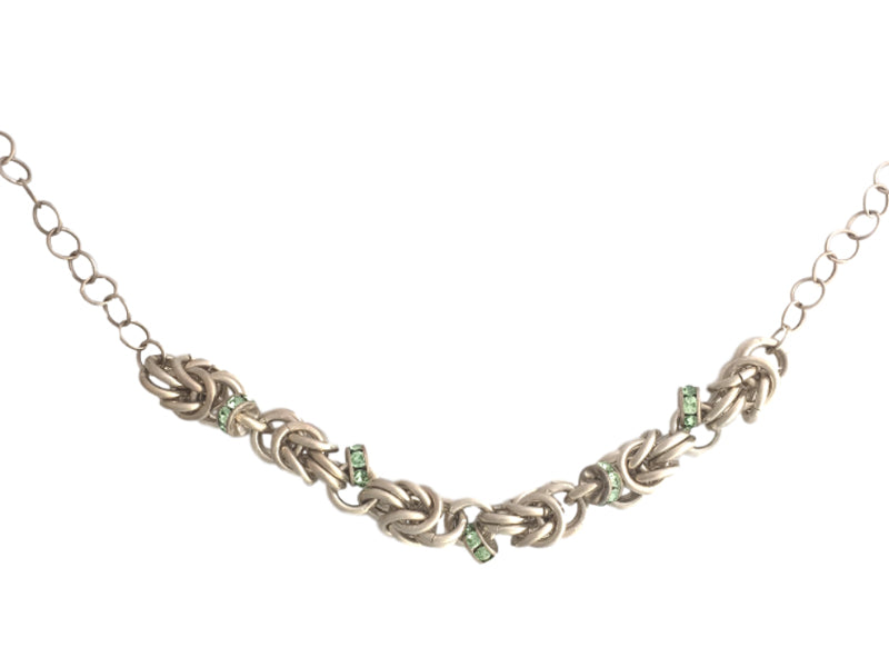 Chain maiile silver necklace green Swarovski