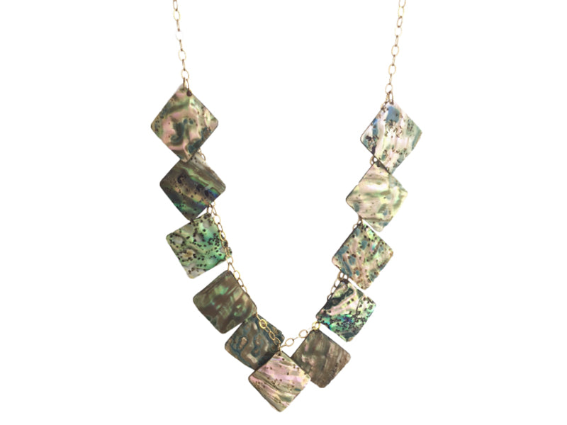 Square Paua shells and gold filled necklace