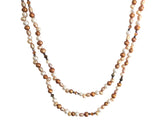 Long freshwater pearls necklace brown and ivory