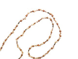 Brown and ivory freshwater pearls long necklace