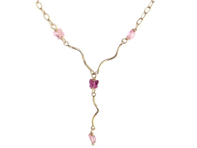 Gold filled long necklace with pink Swarovski butterflies