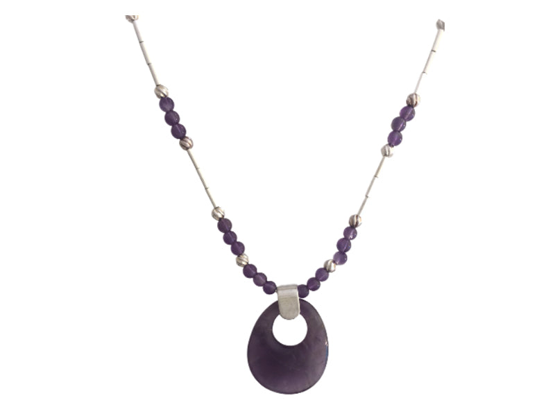 Amethyst and silver necklace with large oval pendant