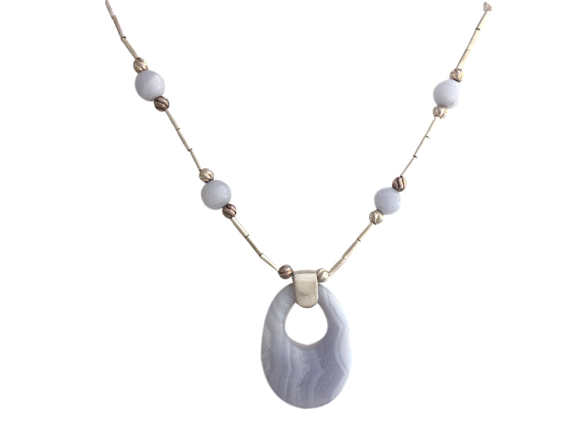 Lace Agate and silver necklace with large oval pendant