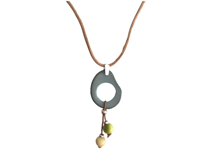 Tagua, silver and leather cord necklace