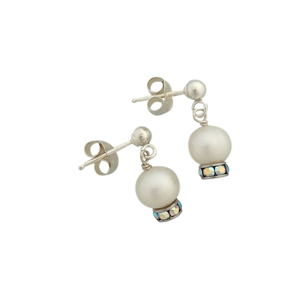 Freshwater pearls Swarovski and silver dangling earrings