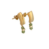 Gold plated and peridot dangling earrings