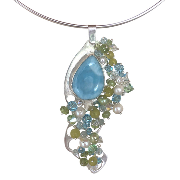 Larimar and green stones pendant