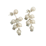 Long pearls earrings with palm tree charm