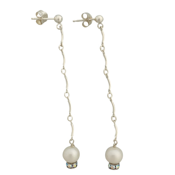 Long minimalist pearl and chain earrings