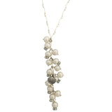 Long pendant silver necklace with pearls and shell charm