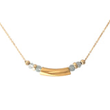 Minimalist necklace with yellow gold plated and blue topaz
