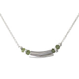 Minimalist necklace with rhodium plated and peridot