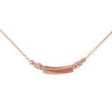 Minimalist necklace with rose gold plated and pink quartz