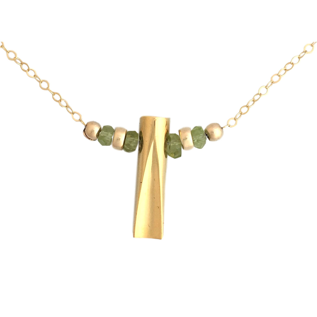 Gold plated and peridot necklace