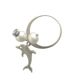 Silver ring with pearls and dolphin charm