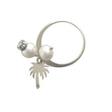 Silver ring with pearls and palm tree charm