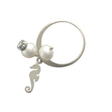 Silver ring with pearls and seahorse charm