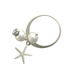 Silver ring with pearls and starfish charm