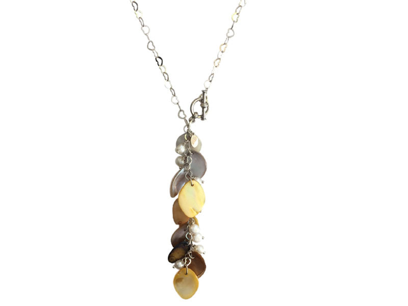 Yellow Mother of pearl and silver long chain