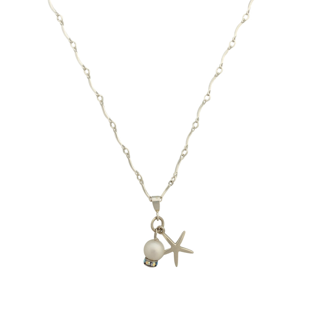 Silver pendant with pearl Swarovski and starfish charm