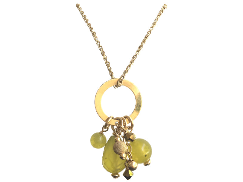 Olive jade Swarovski and gold filled pendant