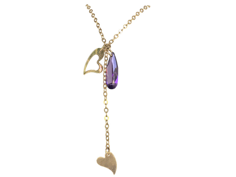 Long Gold filled chain heart and purple Zirconia
