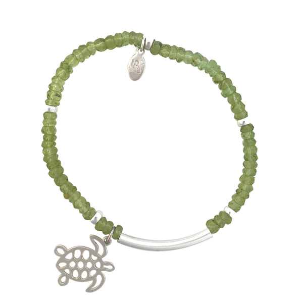 Peridot and silver bracelet with turtle charm