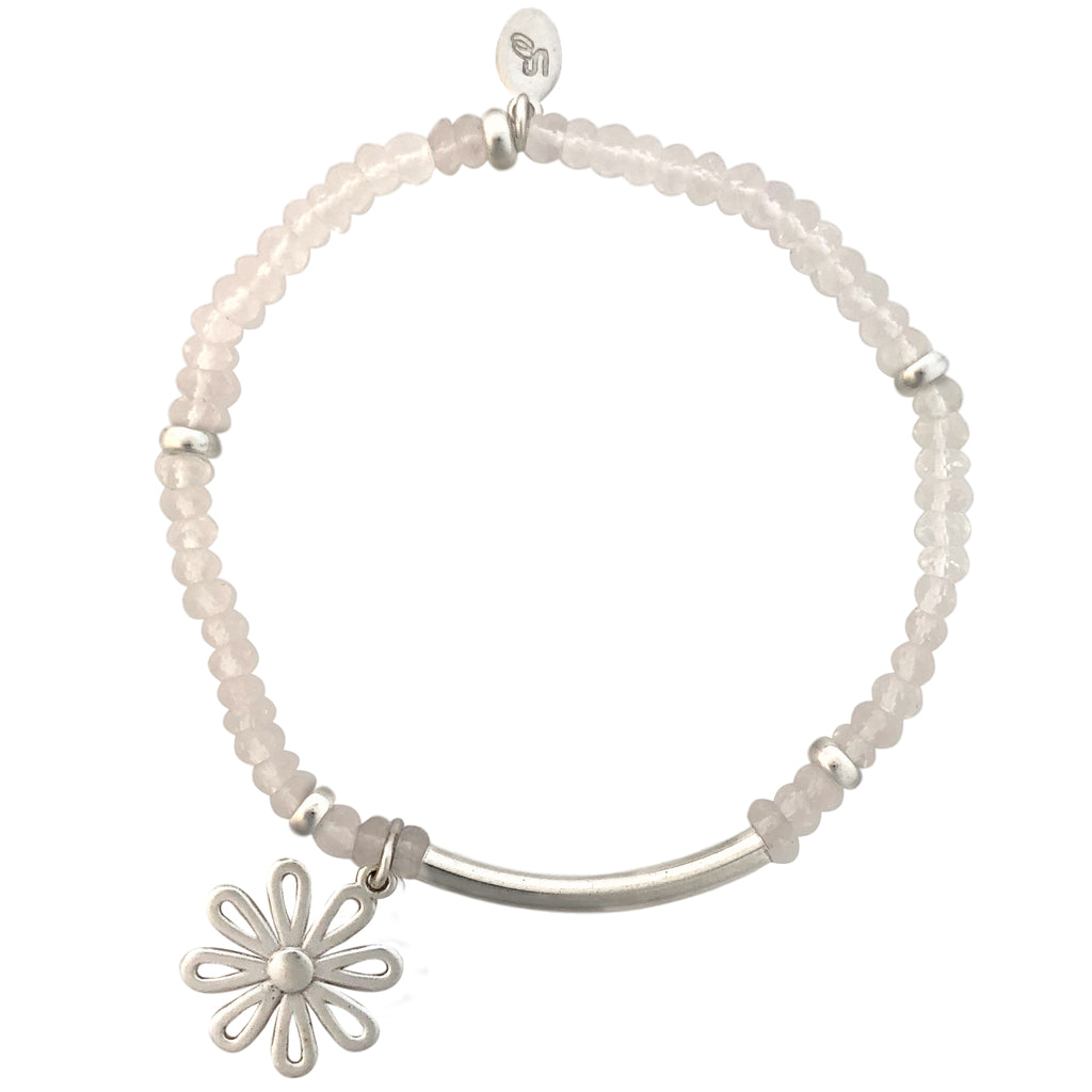 Pink Quartz and silver bracelet with flower charm