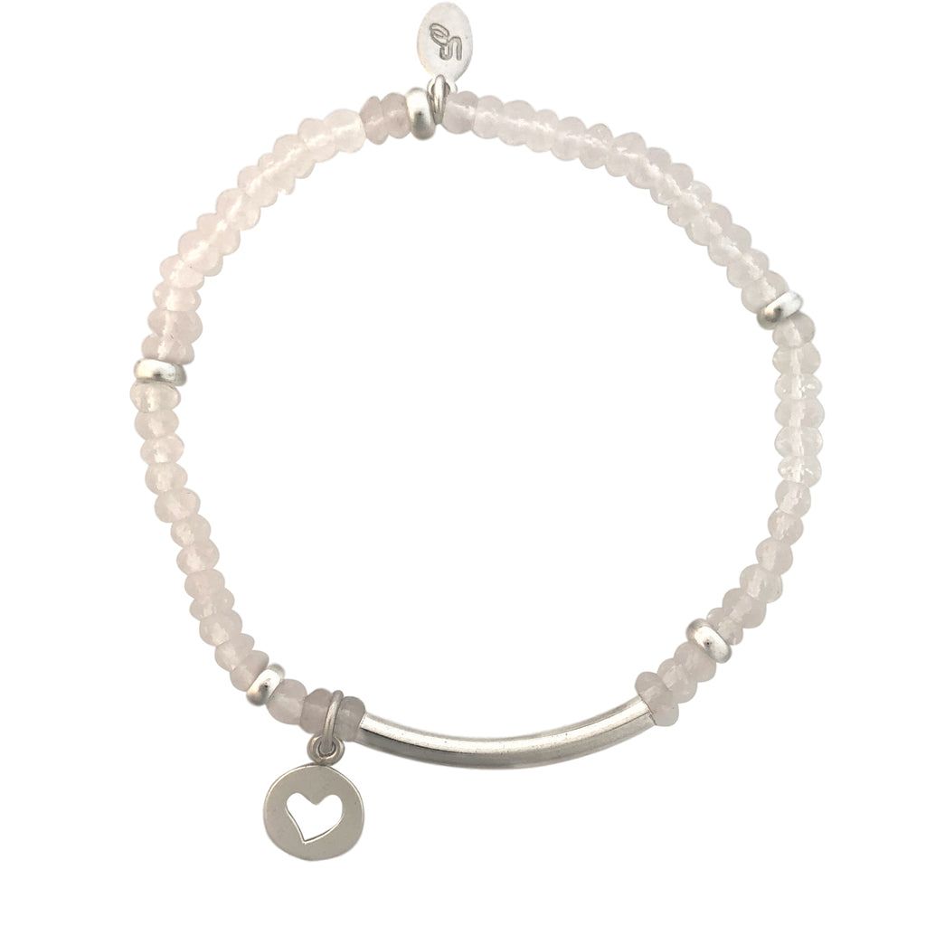 Pink Quartz and silver bracelet with heart charm