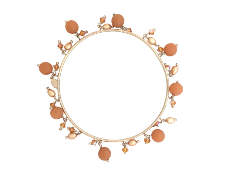 Bangle with peach aventurine, Swarovski crystals and freshwater pearls