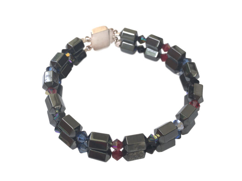Hematite bracelet with red and blue Swarovski