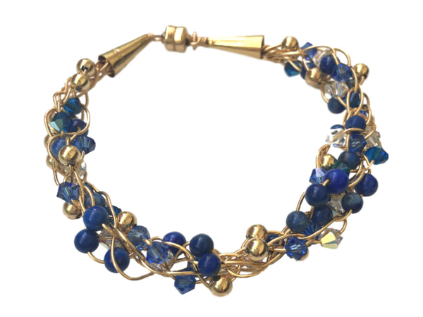 Kumihimo bracelet with Gold filled Swarovski and blue lapis