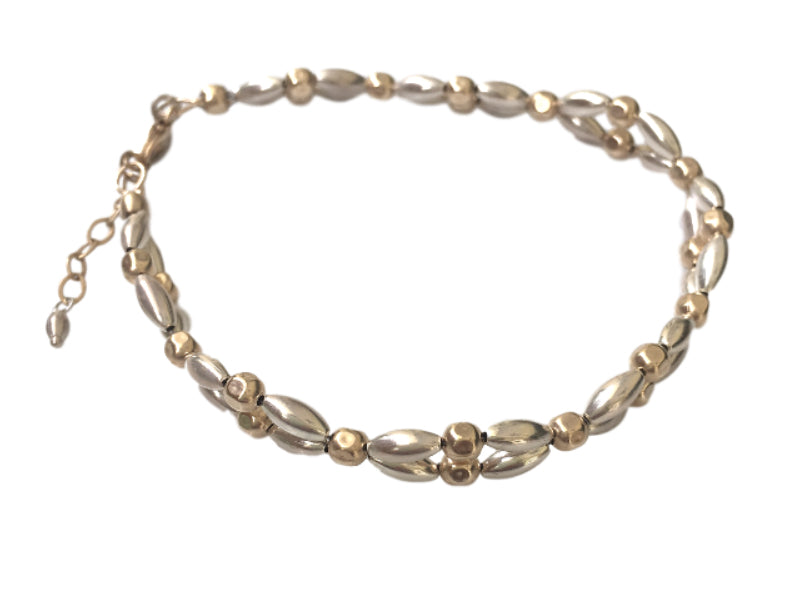 Thin double strand bracelet in silver and gold filled