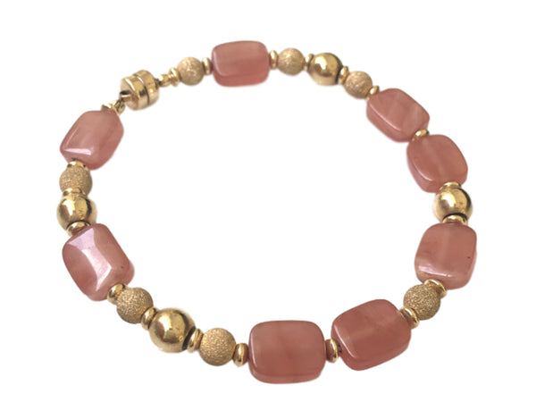 Rhodochrosite and gold filled bracelet
