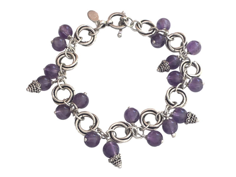 Amethyst and silver charm dangling bracelet