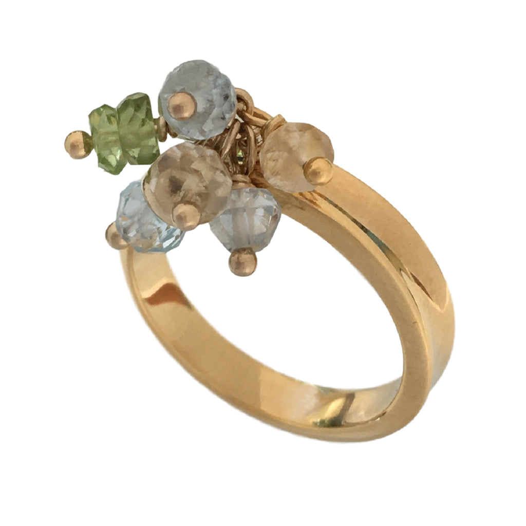 Gold plated ring with charm in peridot blue topaz and citrine