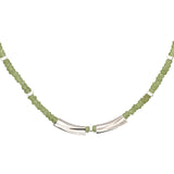 Short necklace in peridot and rhodium  plated