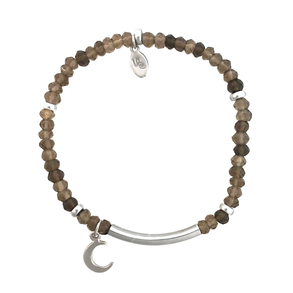 Smoky Quartz and silver bracelet with moon charm