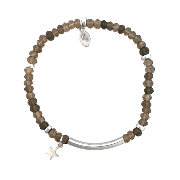 Smoky Quartz and silver bracelet with star charm