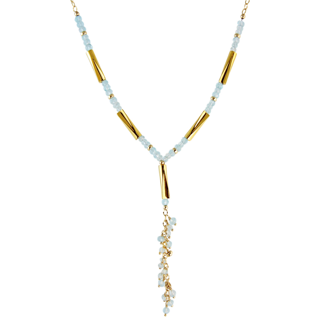 Long necklace with large pendant in yellow gold plated and blue topaz