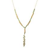 Long necklace with large pendant in yellow gold filled and peridot