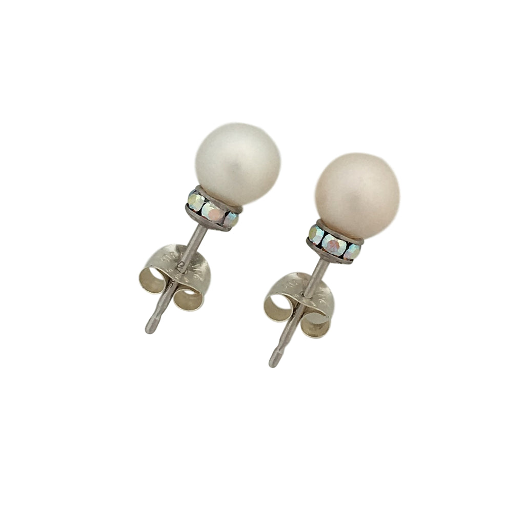 Stud pearl and Swarovski earrings